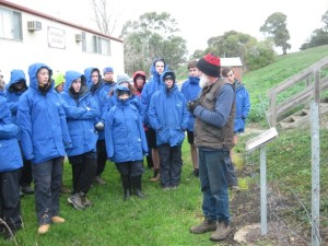 David Franklin of Grasslands Flora talking to yr 9 students about propagating native grasses and wildflowers, Lake Bolac Foreshore